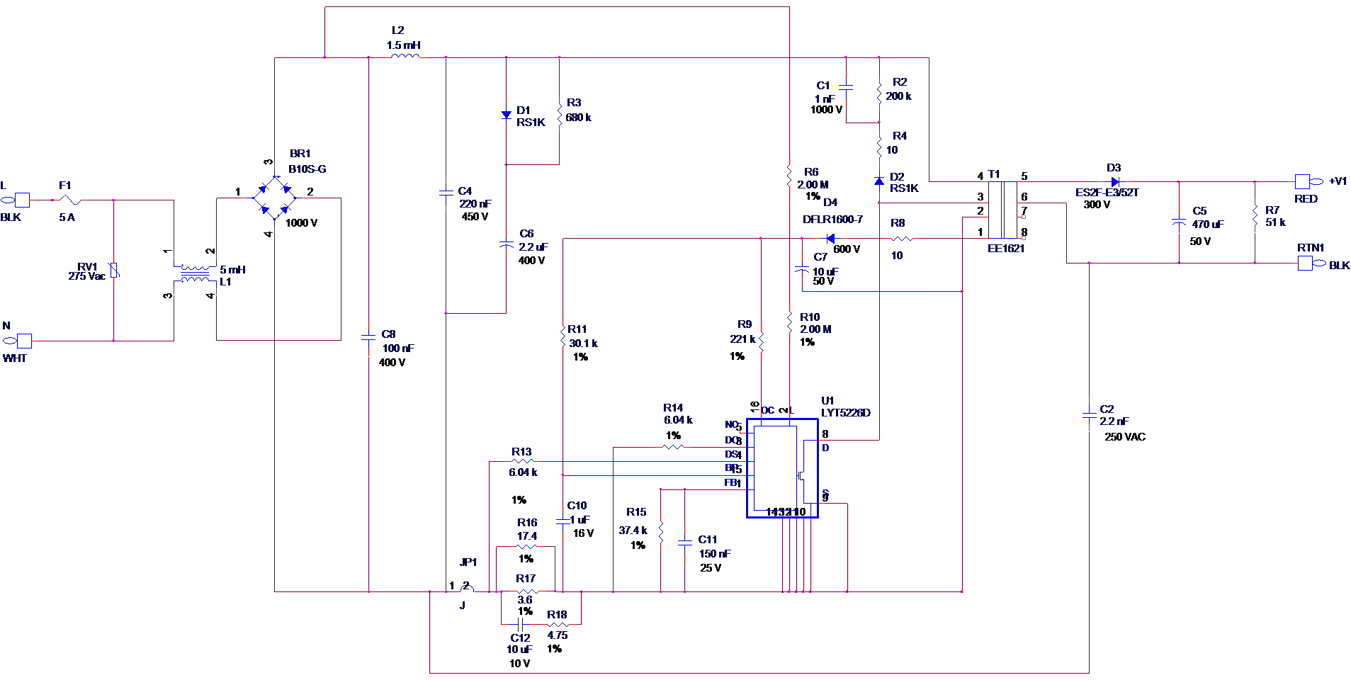 design examples for isolated Flyback schematic with LYTSwitch-5 ...