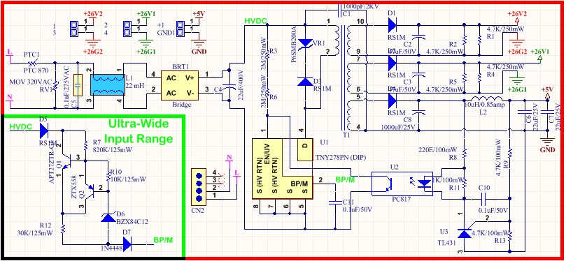 18-265V AC-DC Wide Input Power Supply with 3 Isolated ... on