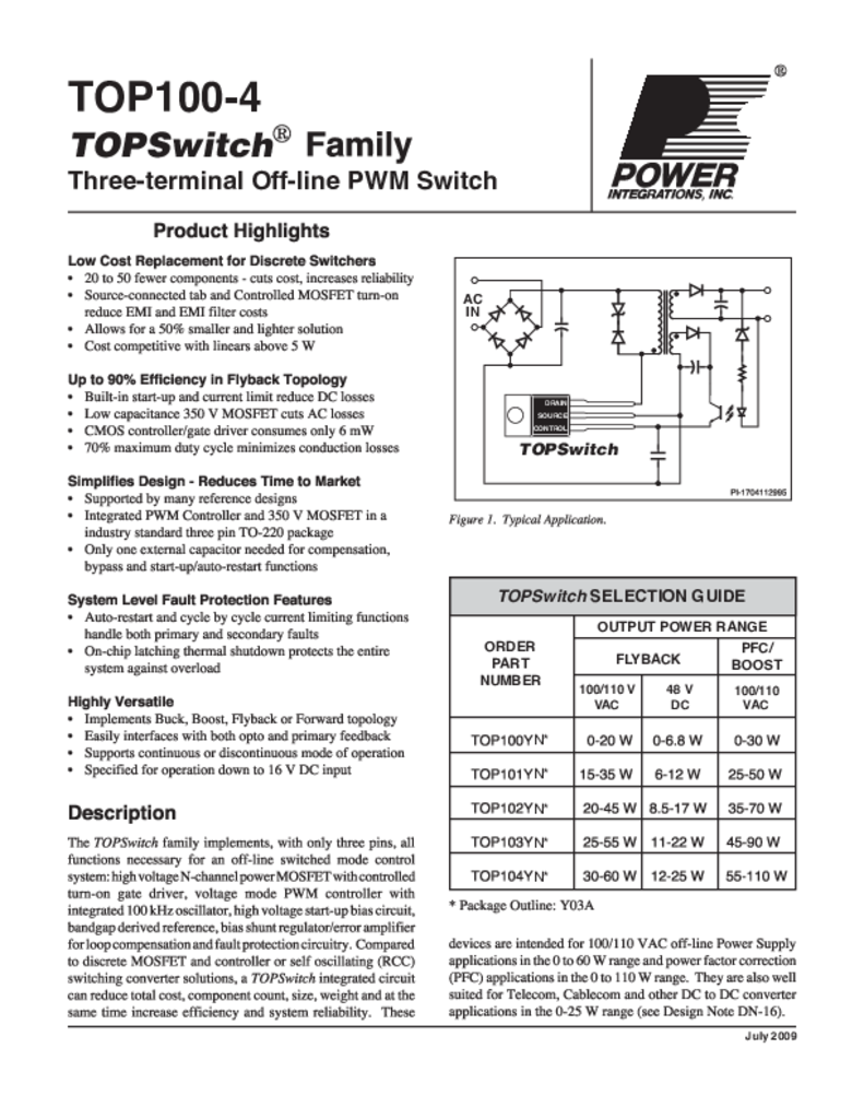 TOPSwitch Family Data Sheet